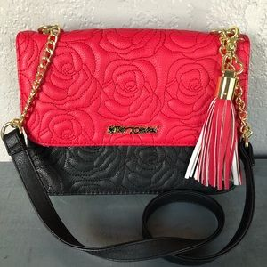 Betsey Johnson Embroidered Rose Bag